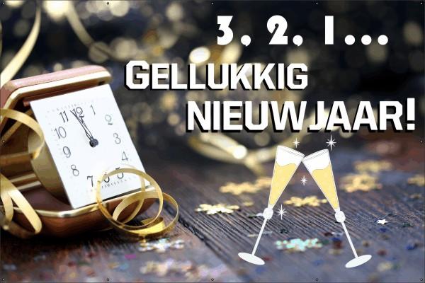 Spandoek: oudjaar klok 123sticker.nl