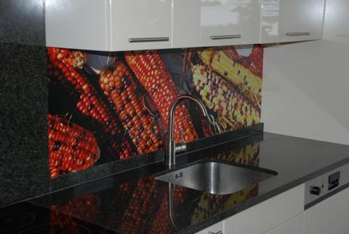 Keuken Plaat Achterwand : Sticker als achterwand keuken. Opgeplakt op dunne plaat. Vraag om het